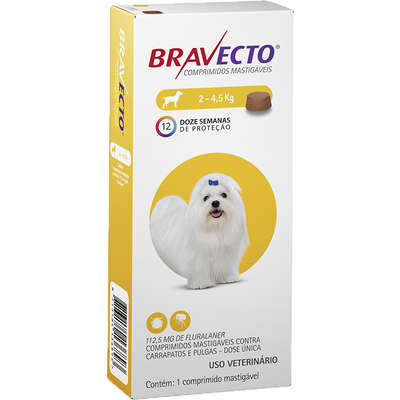 Antipulgas E Carrapatos Bravecto Comprimidos 2-4kg