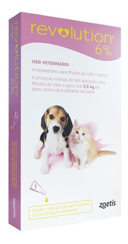 Antipulgas Revolution 6% Cães E Gatos Até 2,5kg - 1 Pipeta
