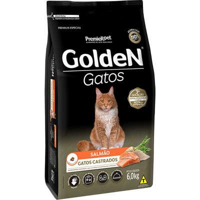 Ração Seca Golden Gatos Castrados Salmão 6 Kg