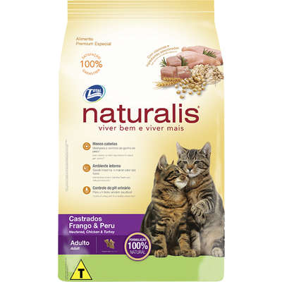 Ração Naturalis Gatos Castrados Frango e Peru 20kg