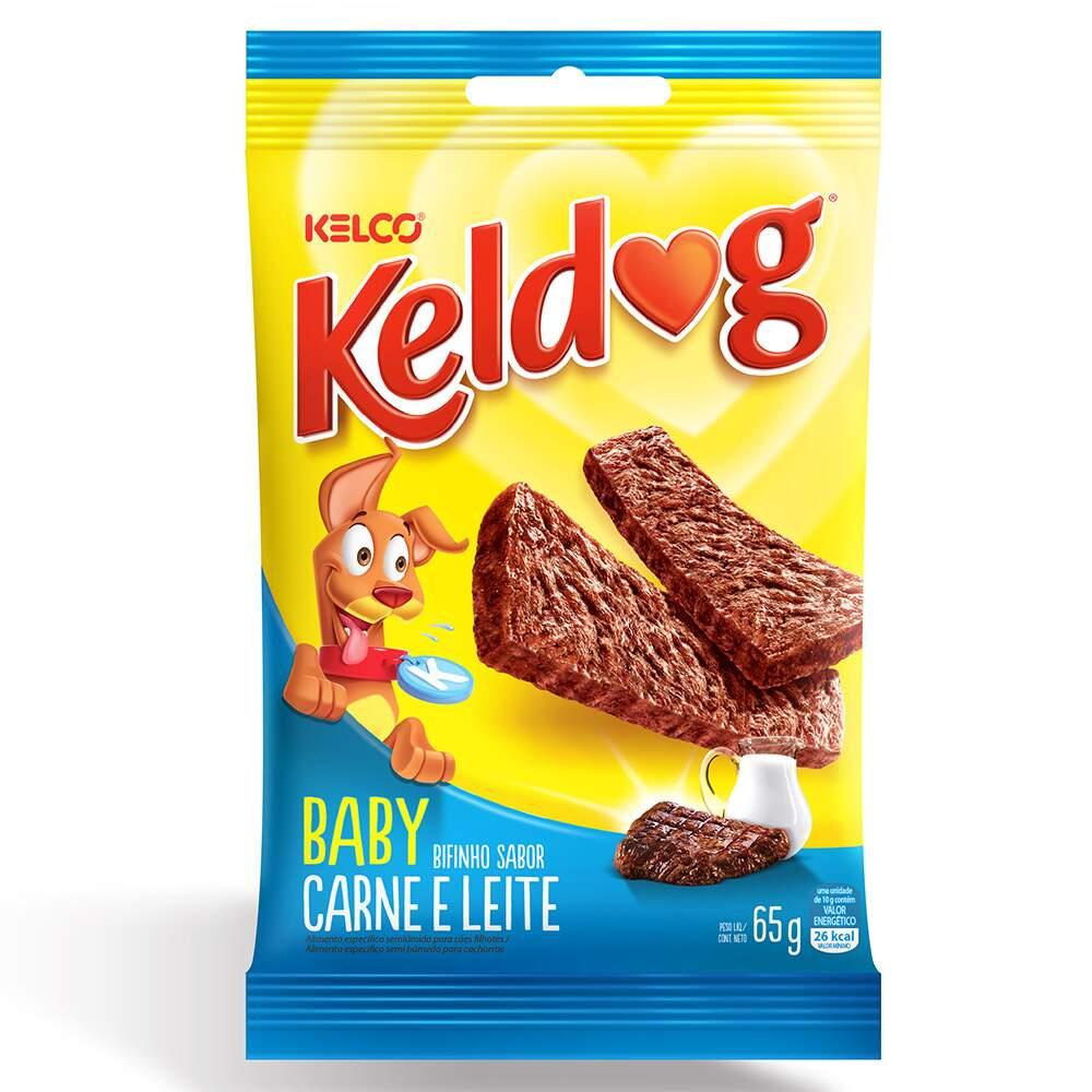 PETISCO BIFINHO P/ CÃES KELDOG BABY CARNE E LEITE 65G