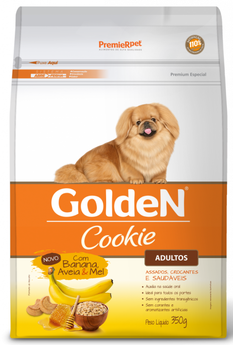 Petisco Biscoito P/ Cães Golden Cookie Adulto Banana 350g