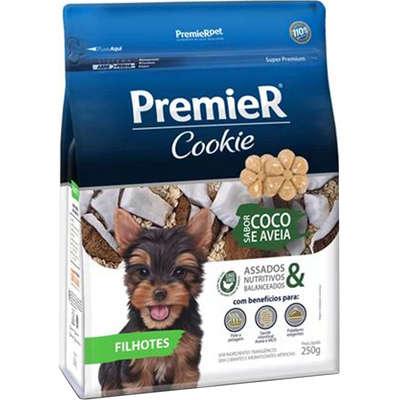 Petiscos Biscoito Cães Cookie Premier Filhotes Coco E Aveia 250g