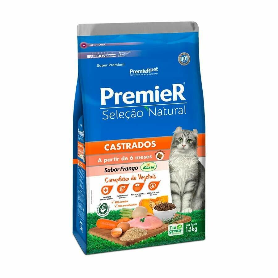 Ração Premier Gatos Adultos Seleção Natural Castrados 7,5 Kg