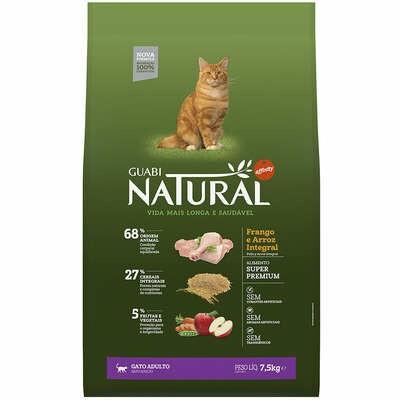 Ração Seca Guabi Natural Gatos Adultos Frango Arroz 7,5Kg
