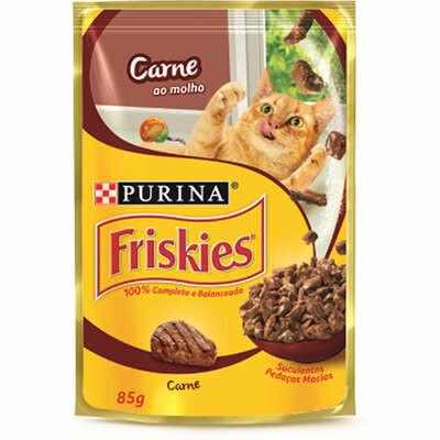 Ração Úmida Sache Gatos Purina Friskies Carne 85g