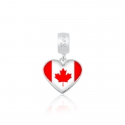 Berloque Pingente Bandeira Canadá em Prata 925 esmaltada