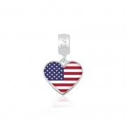 Berloque Pingente Bandeira Estados Unidos em Prata 925 esmaltada