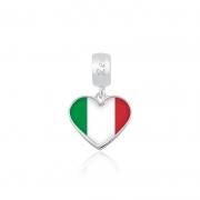 Berloque Pingente Bandeira Itália em Prata 925 esmaltada