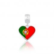 Berloque Pingente Bandeira Portugal em Prata 925 esmaltada