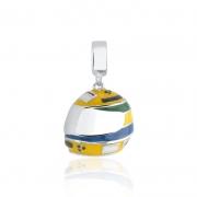 Berloque Pingente Capacete Senna em Prata 925 esmaltada