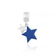 Berloque Pingente Estrela Azul Ponto Luz em Prata 925 esmaltada