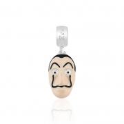 Berloque Pingente Máscara La Casa em Prata 925 esmaltada