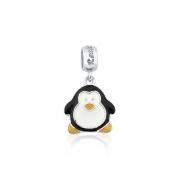 Berloque Pingente Pinguim em Prata 925 esmaltada