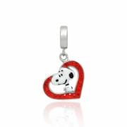 Berloque Pingente Snoopy Coração cravejado em Prata 925