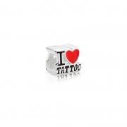 Berloque Separador I Love Tattoo em Prata 925