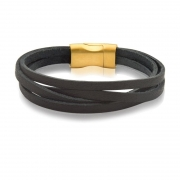Bracelete 20cm Couro Liso Quadruplo Preto com Fecho Rose Fosco