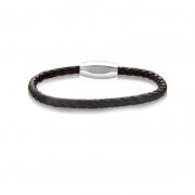 Bracelete aço 20cm Couro Trançado Marrom com Fecho Steel Fosco