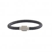 Bracelete Aço Couro Trançado Preto Fecho Steel