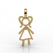 Pingente Menina Vazada em Ouro Amarelo 18k com Diamante
