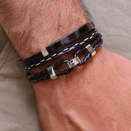 pulseira rosso dupla placa black couro detalhe preto e branco trançado