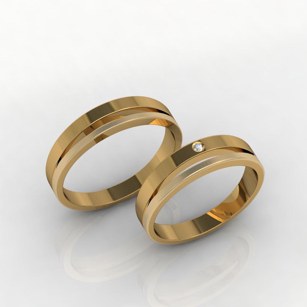 Aliança de Casamento Ouro 18k com Diamante - ALA020F