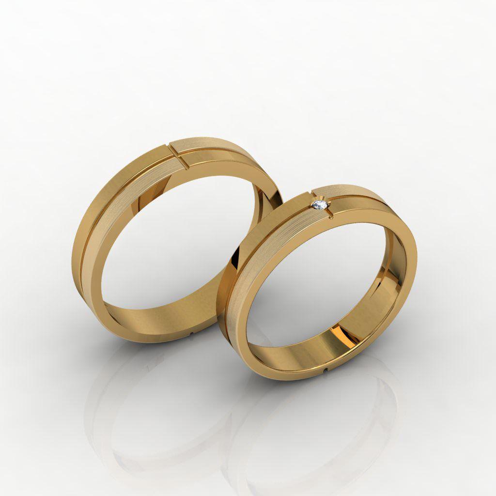 Aliança de Casamento Ouro 18k com Diamante - ALA021F