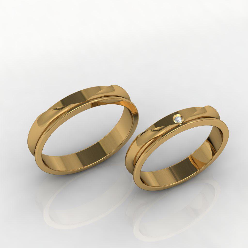 Aliança de Casamento Ouro 18k com Diamante - ALA022F