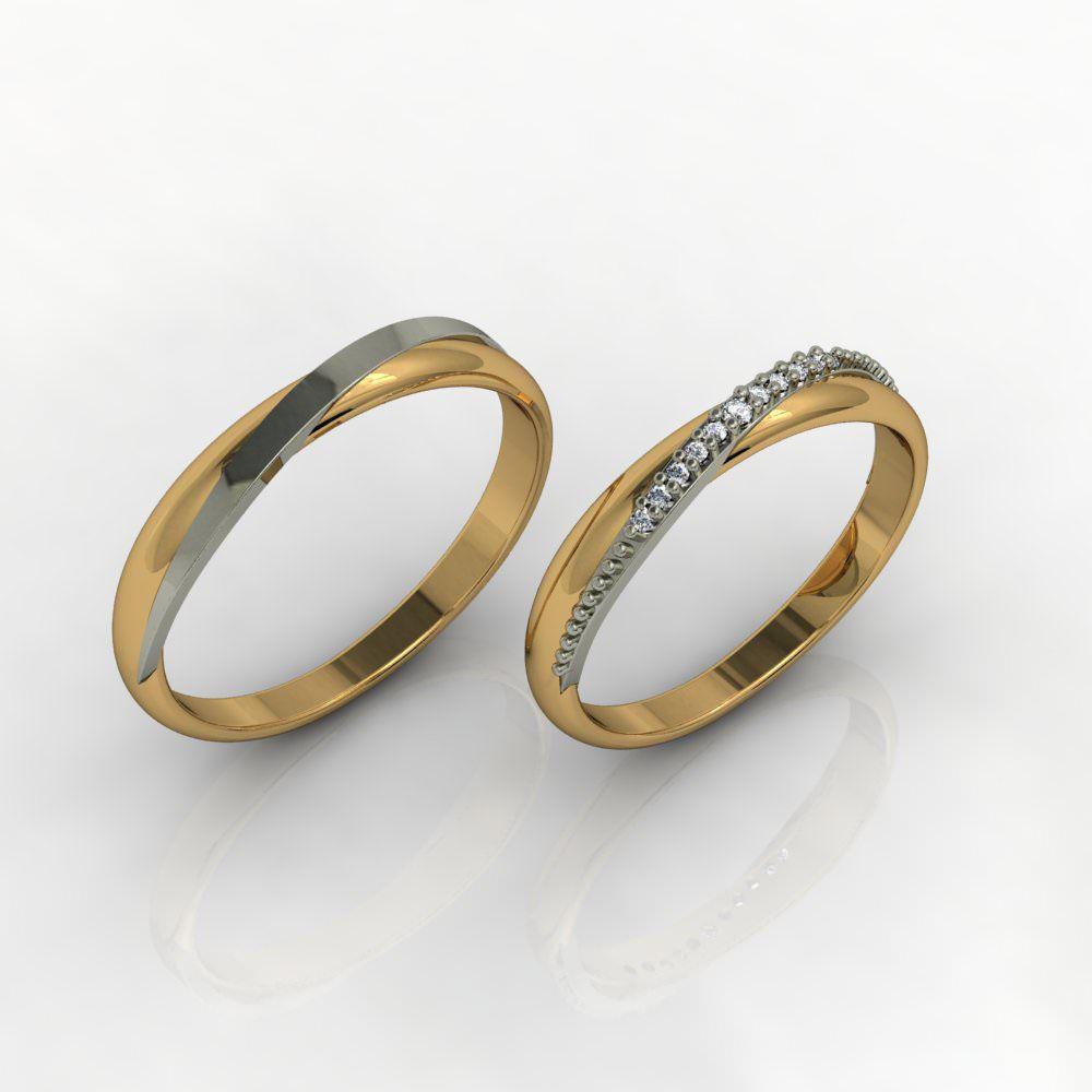 Aliança de Casamento Ouro 18k com Diamante - ALA023F