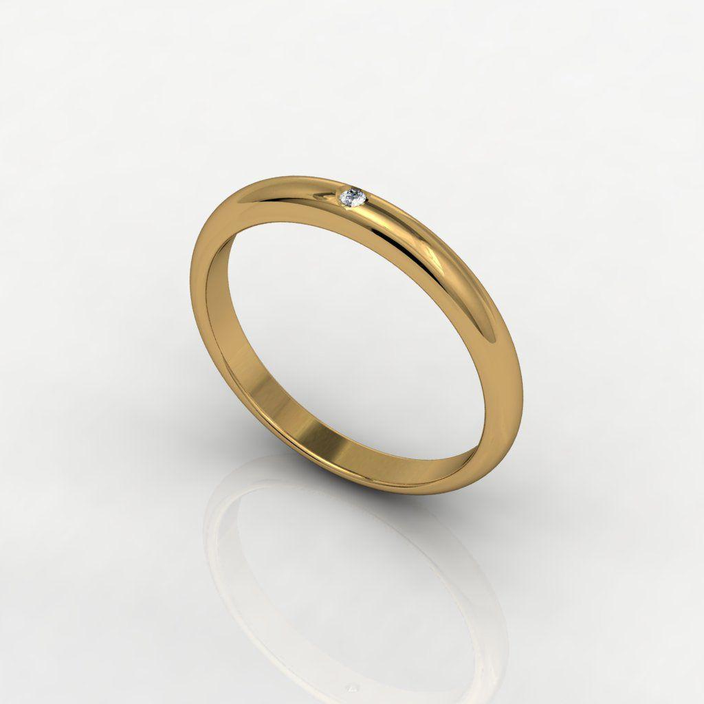 Aliança de Casamento Ouro Amarelo com Diamante Solo Tu