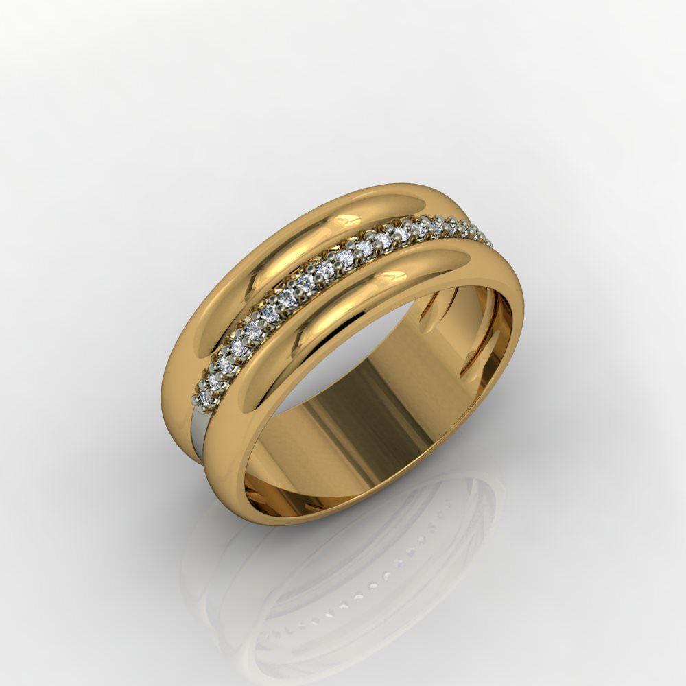 Aliança de Casamento Ouro Amarelo com Diamantes Arcobaleno D'Amore