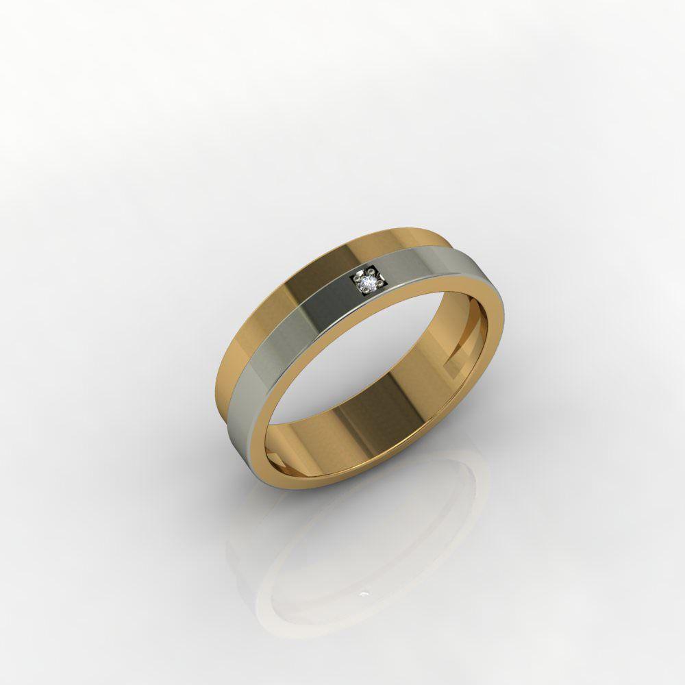 Aliança de Casamento Ouro Amarelo e Ouro Branco com Diamante Passione