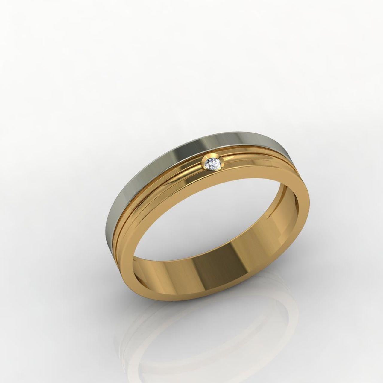 Aliança de Casamento Ouro Amarelo e Ouro Branco com Diamante Per Sempre