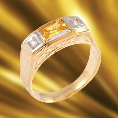 Anel de Formatura em Ouro Amarelo com Brilhantes-Ouro Amarelo - ANF12