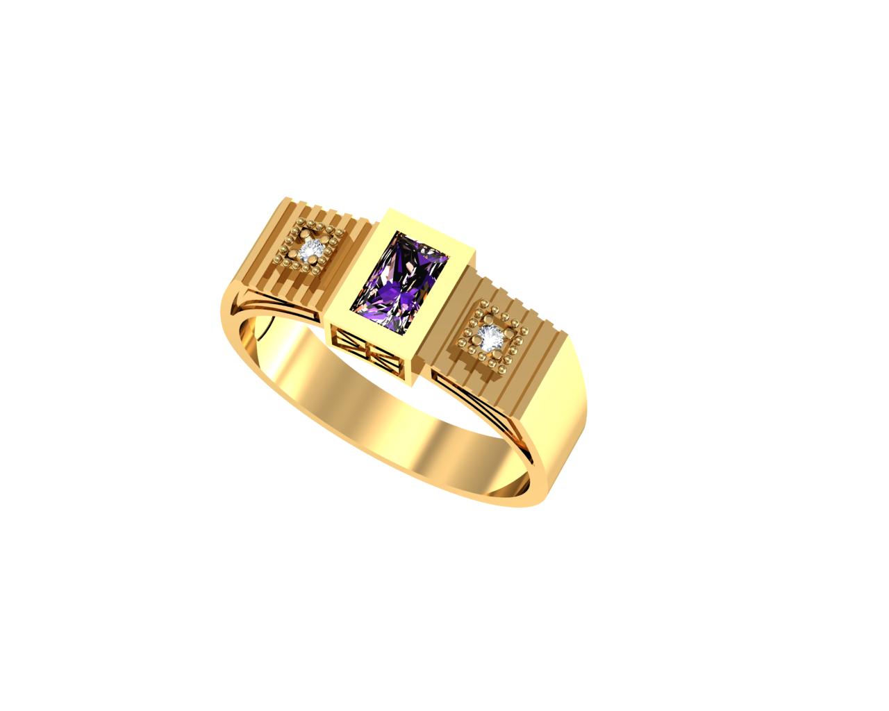 Anel de Formatura em Ouro Amarelo com Brilhantes-Ouro Amarelo - ANF26