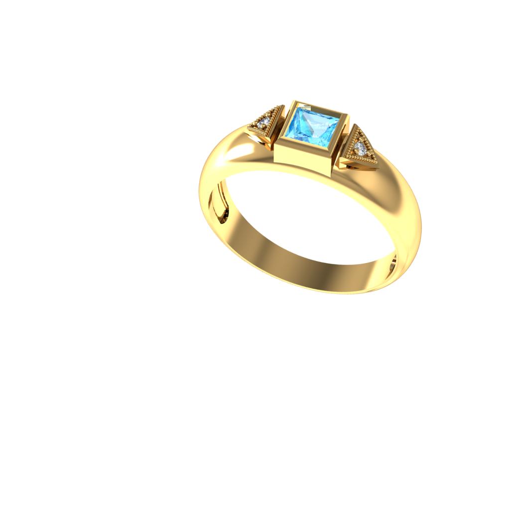 Anel de Formatura em Ouro Amarelo com Brilhantes-Ouro Amarelo - ANF43