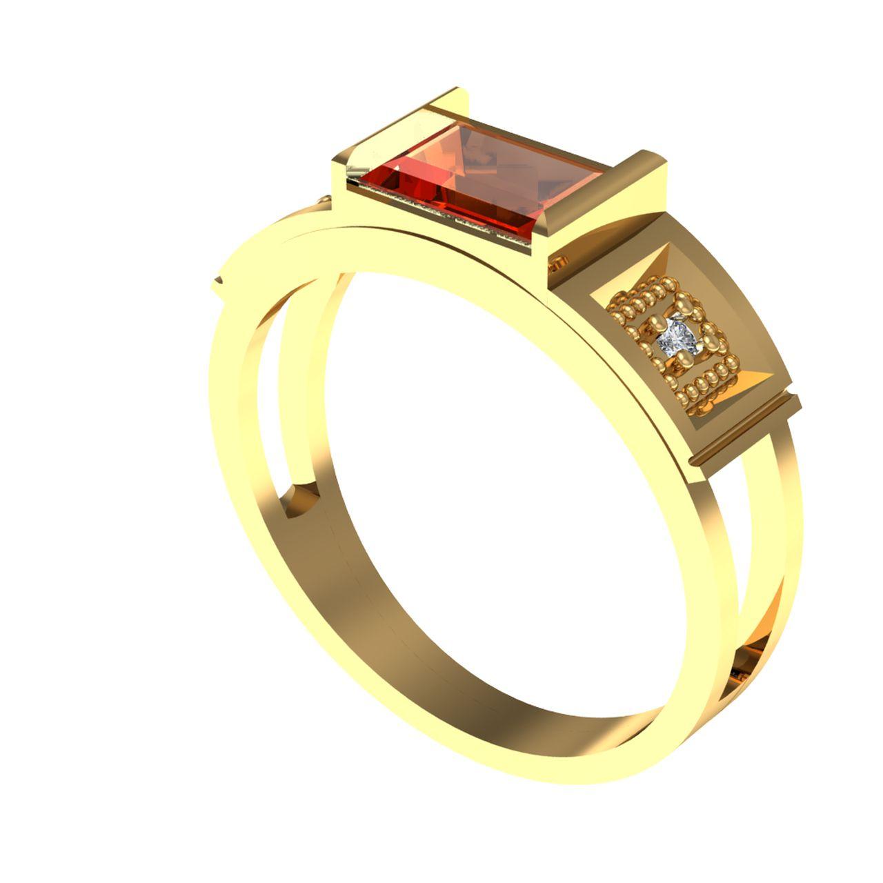 Anel de Formatura em Ouro Amarelo com Brilhantes-Ouro Amarelo - ANF44