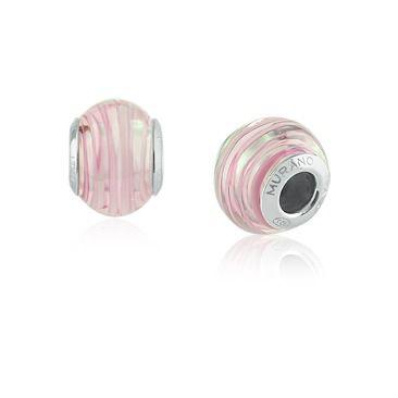Berloque Charm Abstrato Rosa em Prata 925