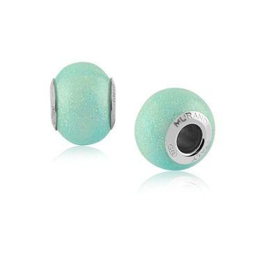 Berloque Charm Azul Claro com Glitter em Prata 925
