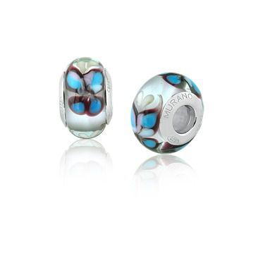 Berloque Charm Borboleta Azul em Prata 925