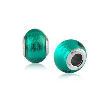 Berloque Charm Verde Vitral em Prata 925