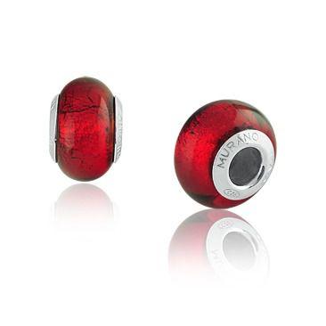 Berloque Charm Vermelho Vitral em Prata 925