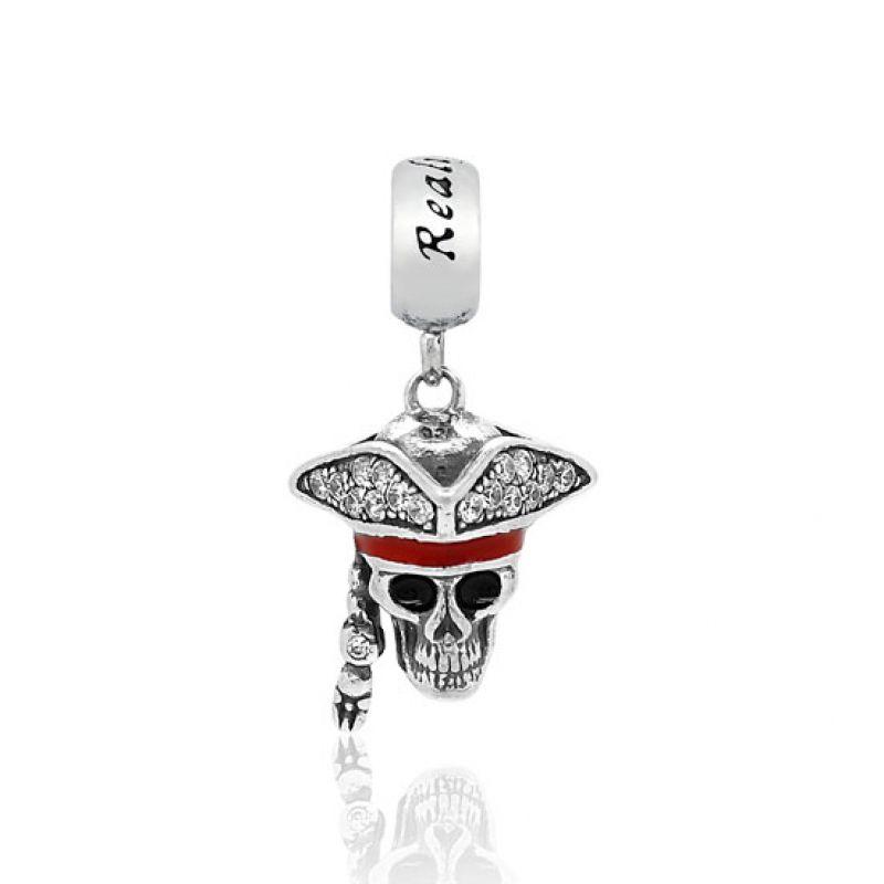 Berloque Pingente Caveira Chapéu Pirata Cravejado em Prata 925 esmaltado