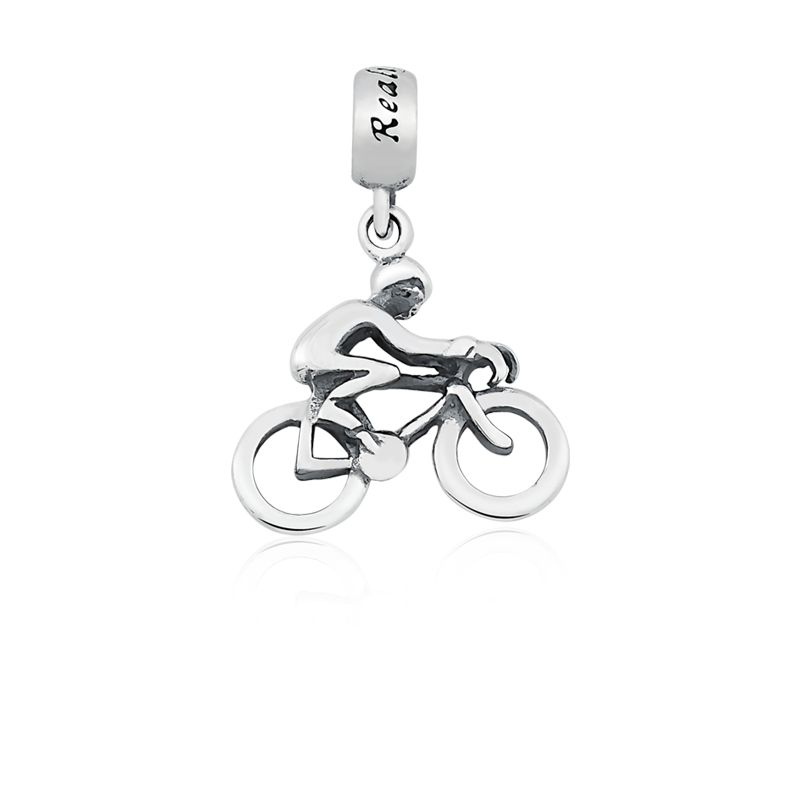 Berloque Pingente Ciclista em Prata 925