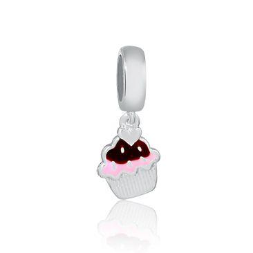 Berloque Pingente Cupcake em Prata 925 esmaltada