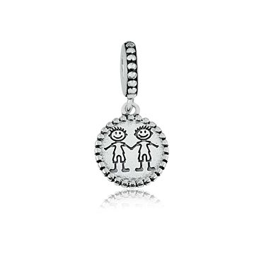 Berloque Pingente Dois Meninos em Prata 925 esmaltada