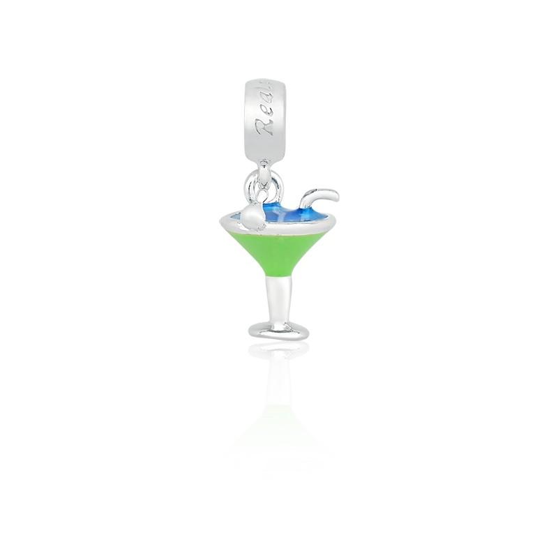 Berloque Pingente Drink em Prata 925 esmaltada