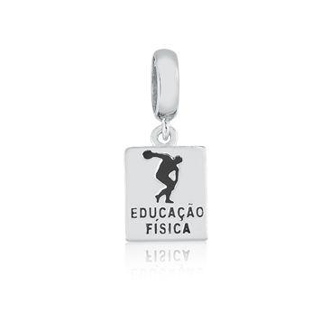 Berloque Pingente Educação Física em Prata 925 esmaltada
