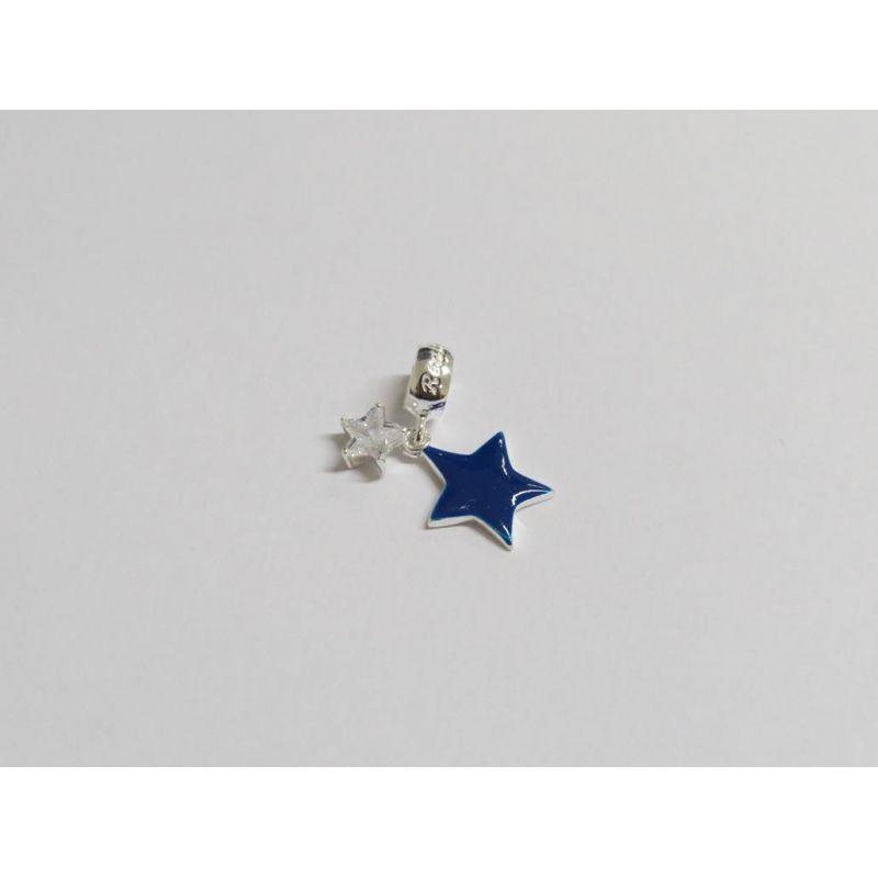 Berloque Pingente Estrela Azul em Prata 925 esmaltada
