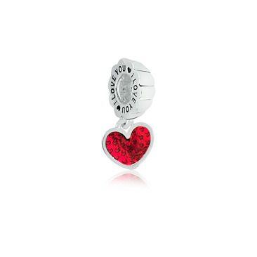 Berloque Pingente I Love You com Coração em Prata 925 esmaltada